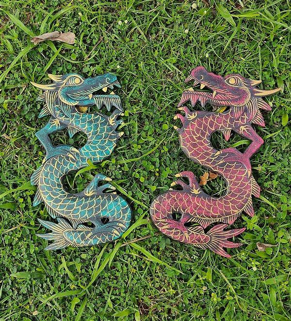 Dragão Shaolin Madeira Indonésia 30 cm