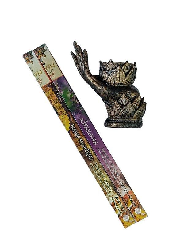 Porta Incenso Flor de Lotus Mão Resina +  Combo Alfazema Massala e Incenso dos Milagres Massala
