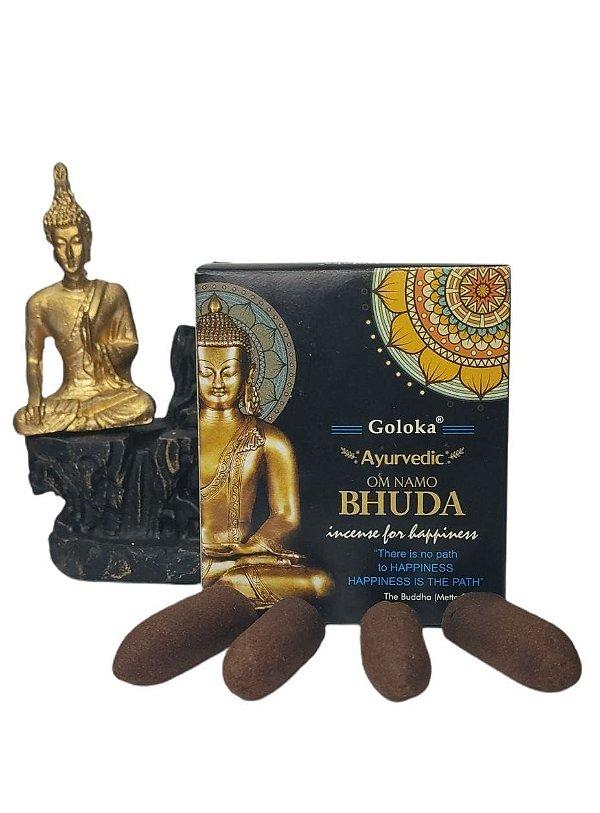 Porta Incenso de Cascata Buda Meditando + 01 Incenso de Cone Massala Bhuda