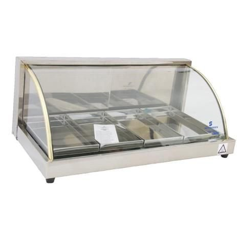 Estufa vidro curvo 4 bandejas em linha luxo