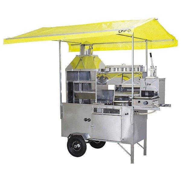 Carrinho 5 em 1 para Churrasco, Batata, Pastel, Hot Dog e Lanches