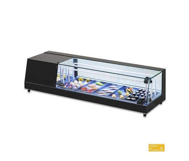 Vitrine Refrigerada inox preto para Sushi  126 x 40 x 31 cm Fritomaq