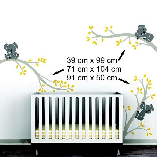 Adesivo decorativo de parede coalas kit com 3 coalas e 3 galhos