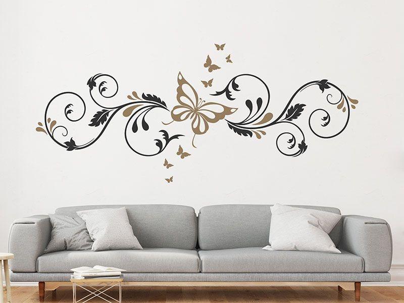 Adesivo de parede - Borboleta e arabesco