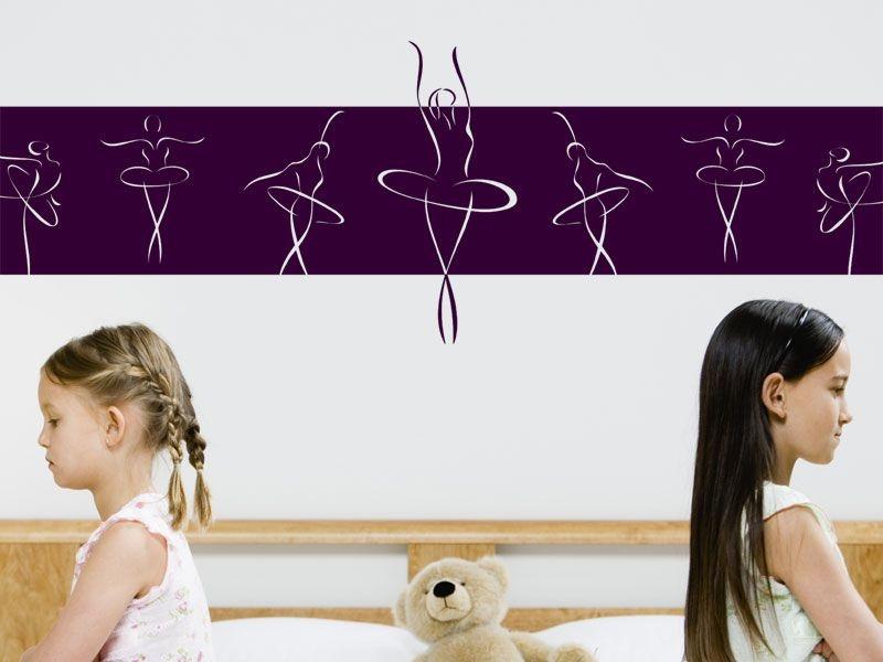 Adesivo de parede - Faixa horizontal de Bailarinas
