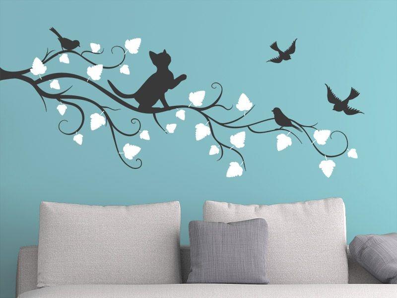 Adesivo de parede - Gato e Pássaros