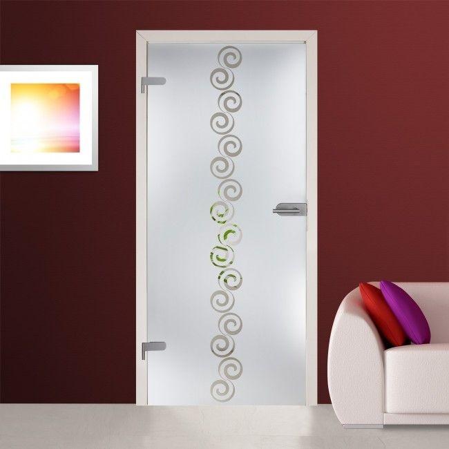 Adesivo jateado com grafismo central vazado - 215x100 cm - para portas de 50 até 100 cm de largura