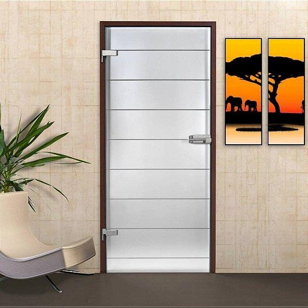 Adesivo Jateado Fosco - Faixas Horizontais - 210x100 cm para vidros de 50 a 100 cm