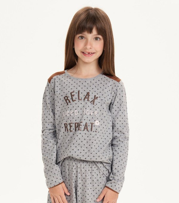 Pijama Manga Longa Infantil Feminino Mescla Relax