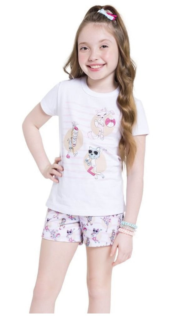 Pijama Manga Curta Feminino para Colorir