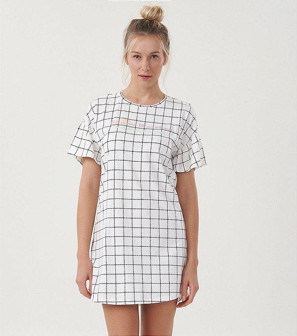 Camisola Manga Curta Quadriculada