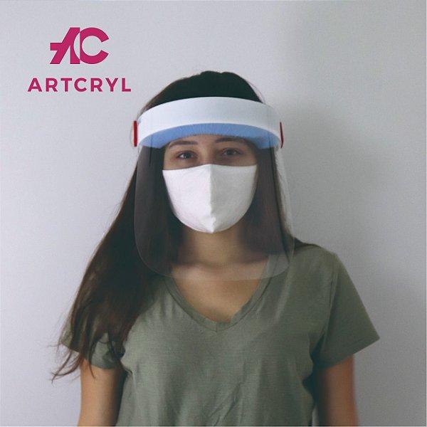 Máscara facial (Face Shield) Adulto com visor em PETG 0.50mm (10 peças)
