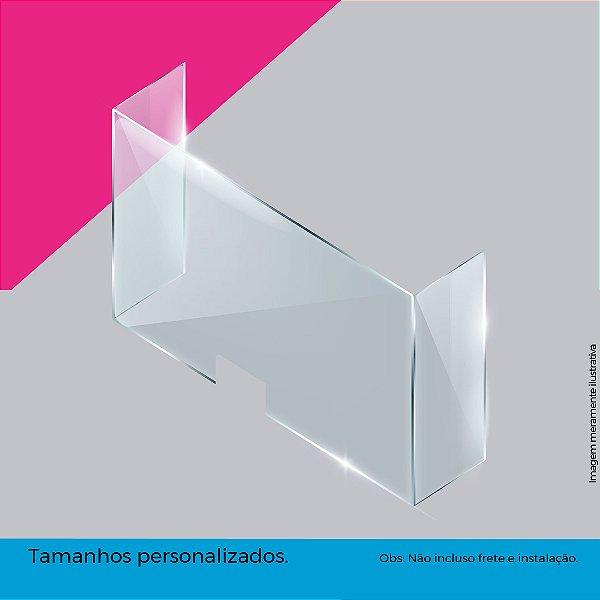 (Kit com 10 peças) Guichê bloqueio anti viral Petg cristal 3mm - Formato U