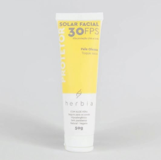 Herbia - Protetor Solar NATURAL | VEGANO | FÍSICO | Facial Pele Oleosa FPS 30 - 50g