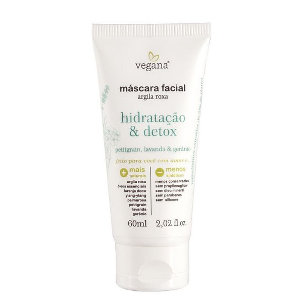 VEGANA - Máscara Facial Hidratação Argila Roxa & Detox - 60ml