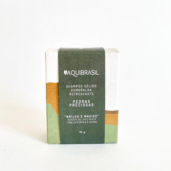 AquiBrasil - Shampoo Sólido Esmeralda Refrescante 70g