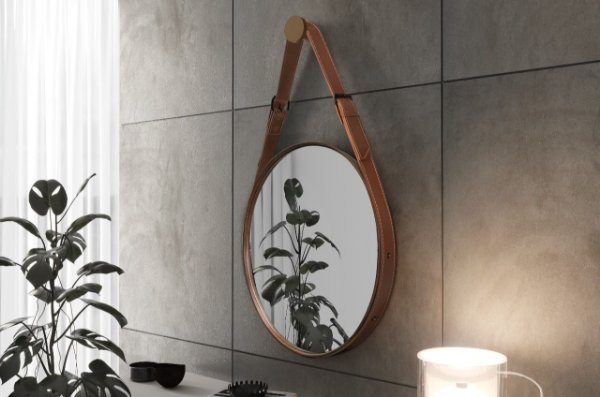 Espelho Decorativo Fine 55cm com Alça em Couro