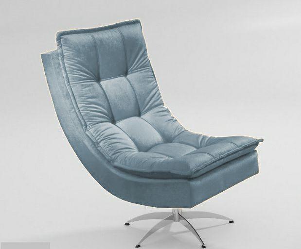 Poltrona Nilla Chaise Tecido Liso - Azul BB