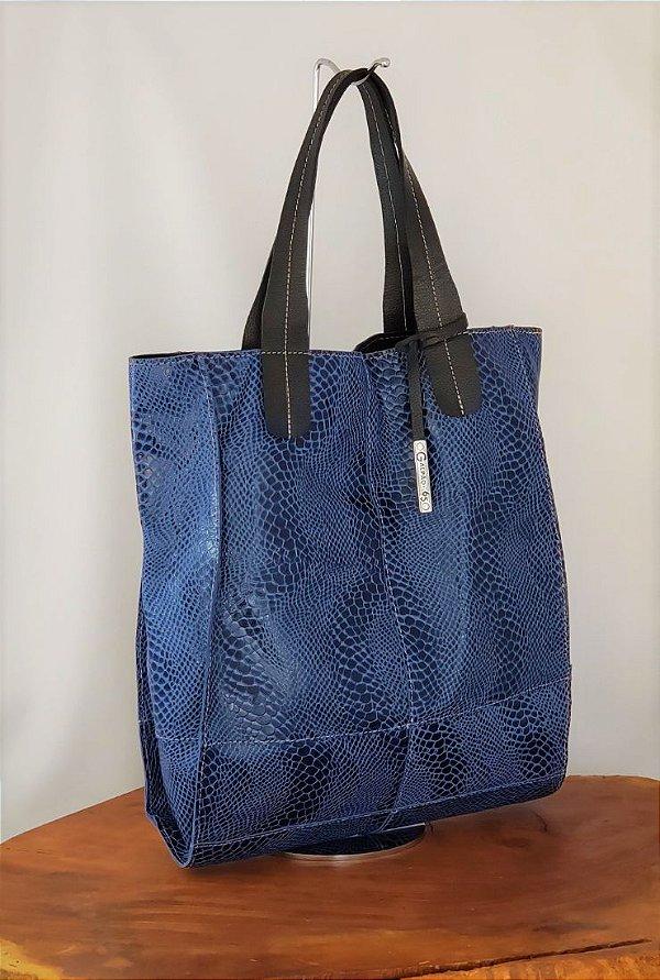 Bolsa de Couro Feminina Azul Marinho Grande de Ombro Andrea
