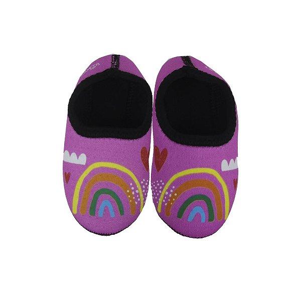 Sapatinho Térmico Antiderrapante Arco Íris Multicolorido