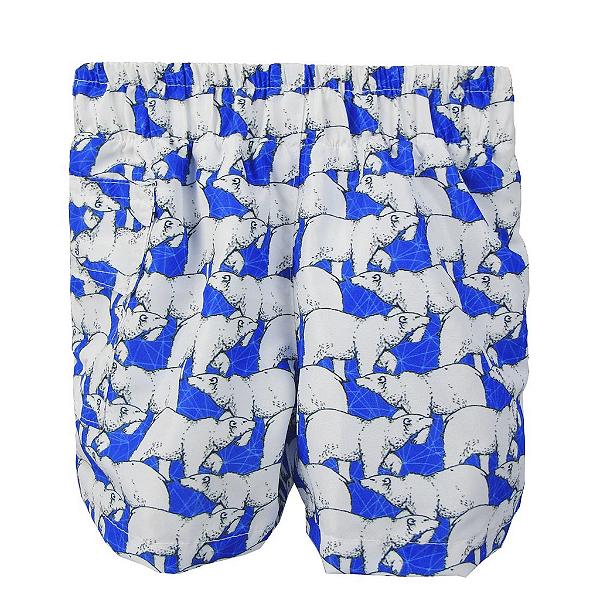 Short com Fralda Embutida Reutilizável  Urso Polar Azul