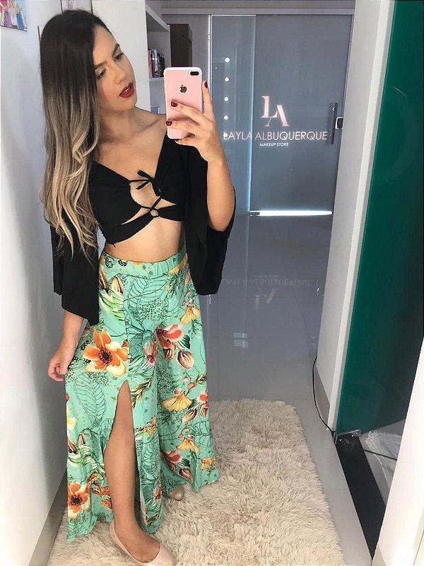 Calça Pantalona Floral Verde