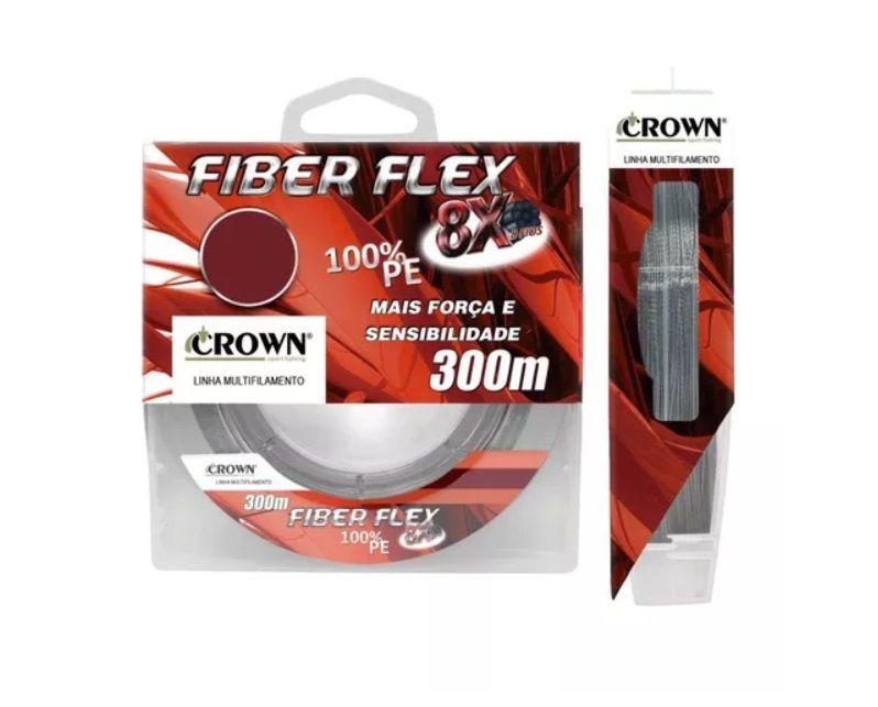 Linha Fiber Flex 8x Multifilamento Crown 300 metros