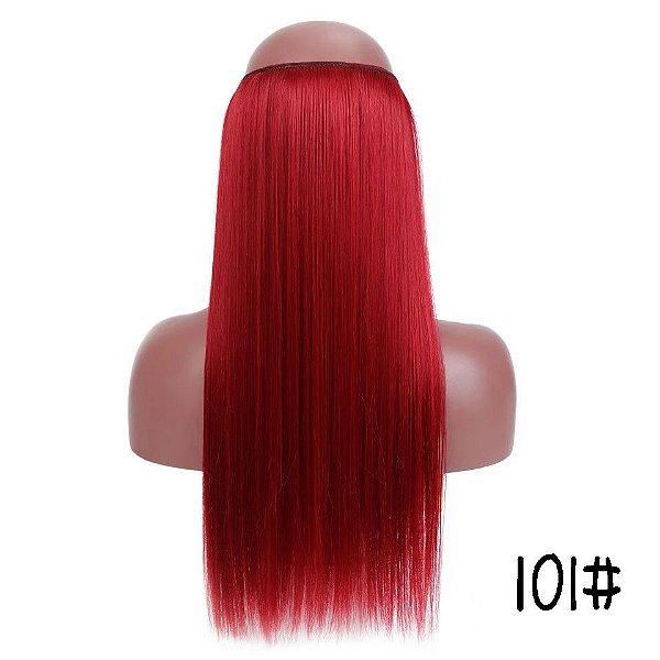 Aplique de Cabelo Orgânico Vermelho de Linha Invisivel 60 cm 120g