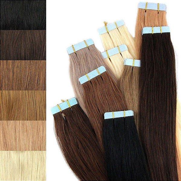 Mega Hair Fita Adesiva Humano Várias Cores 50 cm 20 peças 50 gramas