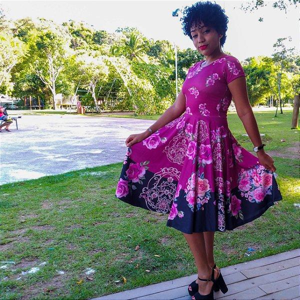 Vestido Godê Floral Púrpura