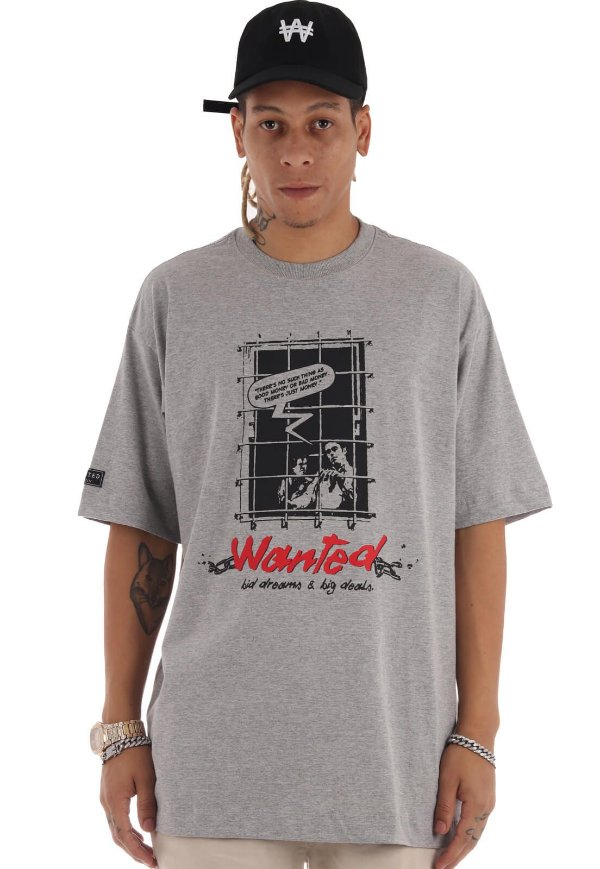 Camiseta Premium Wanted - Behind Bars Cinza