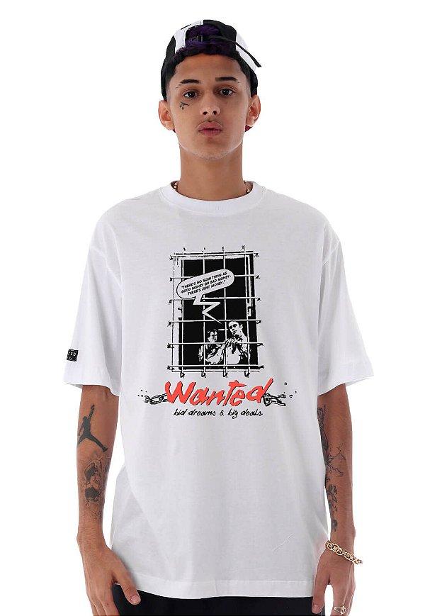 Camiseta Premium Wanted - Behind Bars Branca