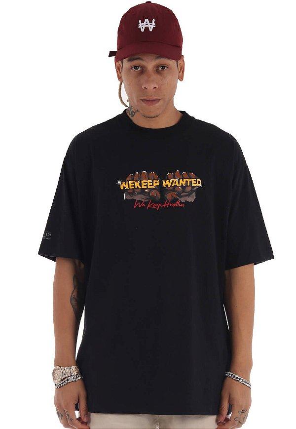Camiseta Premium Wanted - We Keep Hustlin Preta