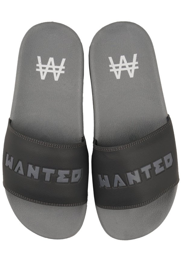 Chinelo Slide Wanted - Logo Alto Relevo Cinza