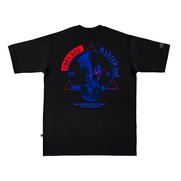 Camiseta Premium Wanted - Cops Kill Preta