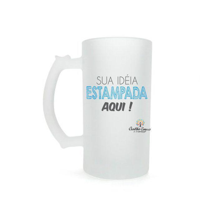 CANECA DE CHOPP DE VIDRO JATEADO PERSONALIZADA 500 ML