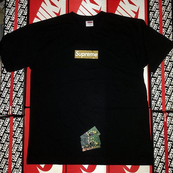 "Camiseta Supreme Box Logo ""Gold"" - Preta"
