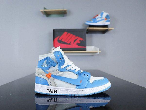 """Tênis Nike Air Jordan 1 Retro High """"OFF WHITE UNC"""" - ENCOMENDA"""