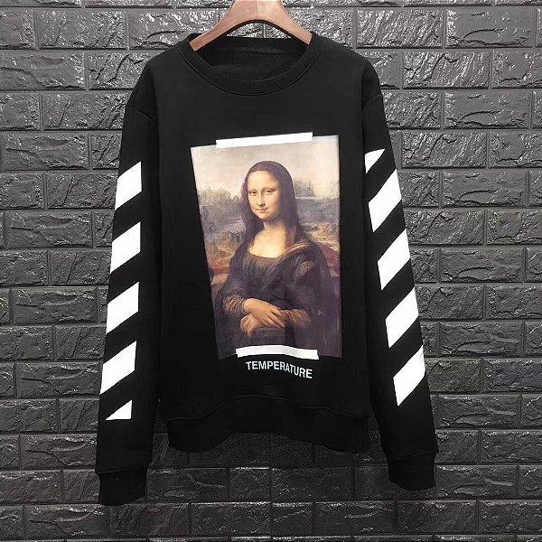 """Blusa Moletom Off-White """"Mona Lisa"""" Black - ENCOMENDA"""