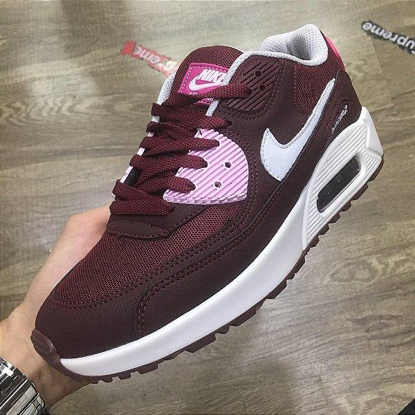 """Tênis Nike Air Max 90 """"Vinho/Rosa"""" - Feminino"""