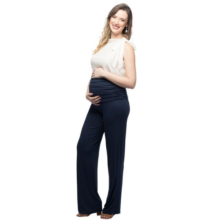 Calça Pantalona para Grávidas BARI AZUL MARINHO