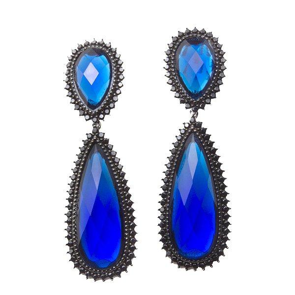 Brinco Amoeto Cravejado de Zircônias e Pedra Azul
