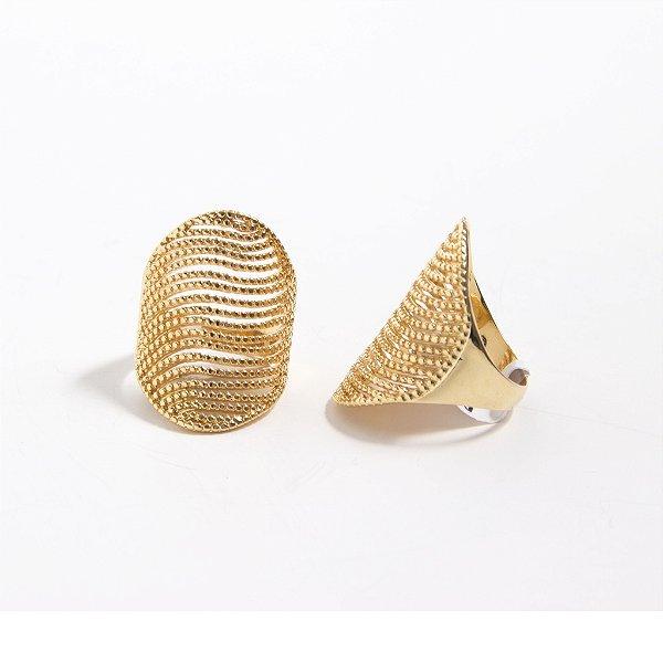 Anel Amoeto Escudo Brilhante Dourado