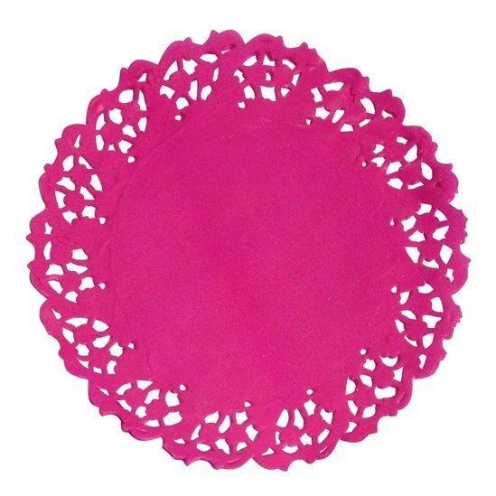 Toalha Rendada Papel Mago (Doilies) Pink (11 cm) 50 unids