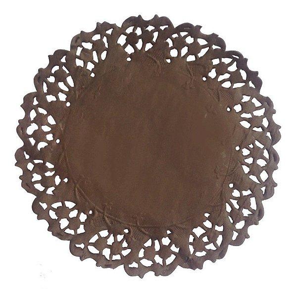 Toalha Rendada Papel Mago (Doilies) Marrom (11 cm) 50 unids