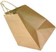 Sacola papel Kraft 28x23x18 alça torçida (delivery) c/10 unids