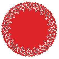 Toalha Rendada Papel Mago (Doilies) mod 300 (30 cm) Vermelha 10 unids