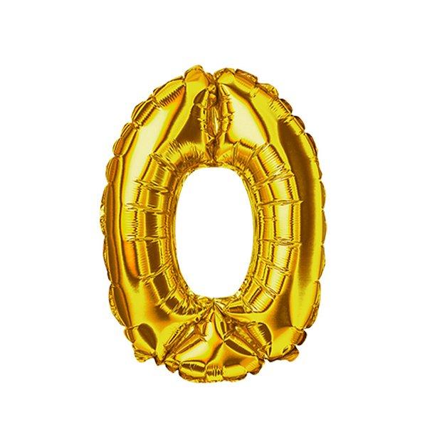 Balão Metalizado nº0 Dourado 32cm unid