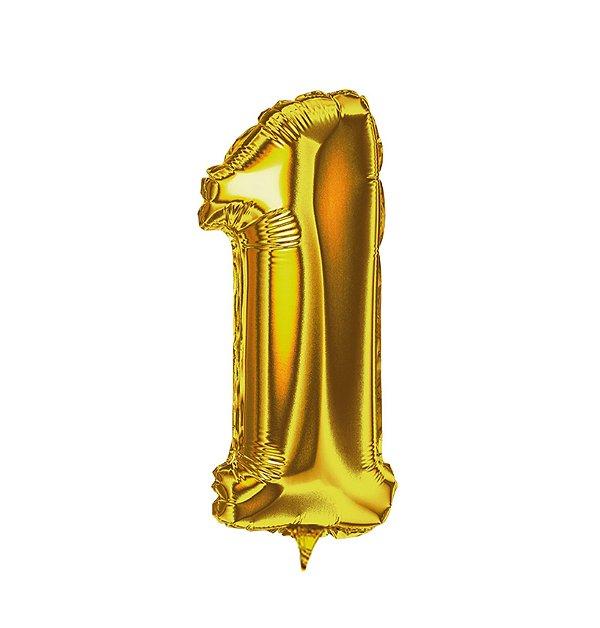 Balão Metalizado nº1 Dourado 32cm unid