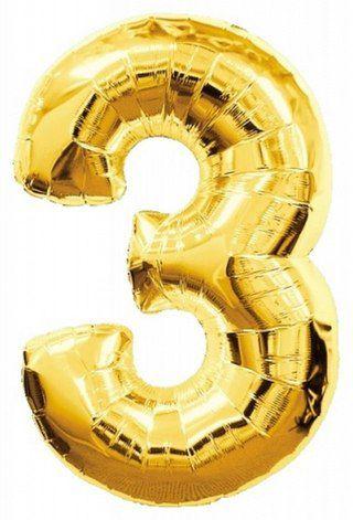 Balão Metalizado nº3 Dourado 32cm unid